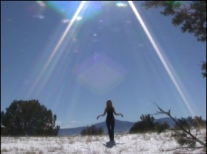 Pamela screen shot of film in Northern New Mexico cold and barefoot 1