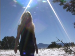 Pamela screen shot of film in Northern New Mexico cold and barefoot 2