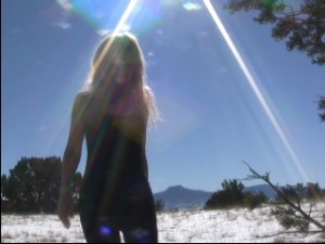 Pamela screen shot of film in Northern New Mexico cold and barefoot 3