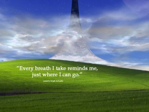 Green grass clouds sky pamela quote