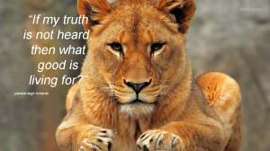 Lioness pamela quote 11 Sep 13