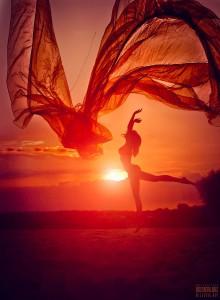 Lady dance beach waving scarf beautiful