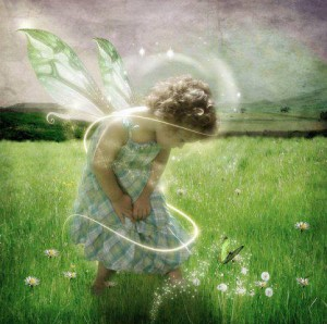 meadow child flying in love with flowers 1