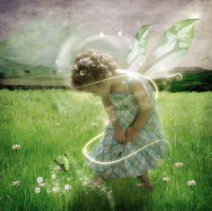 meadow child flying in love with flowers 2