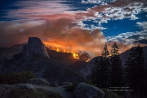 Yosemite Lit Up! Forest fire rages dangerously close to Half Dome and the Little Yosemite Valley area