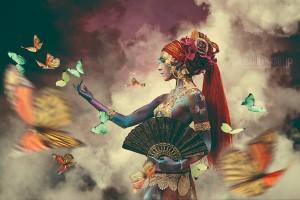 Beautiful Butterflies Fan woman