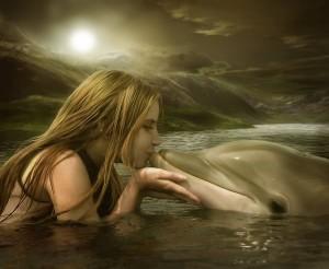 Fractals-Girl-Dolphin-Kiss